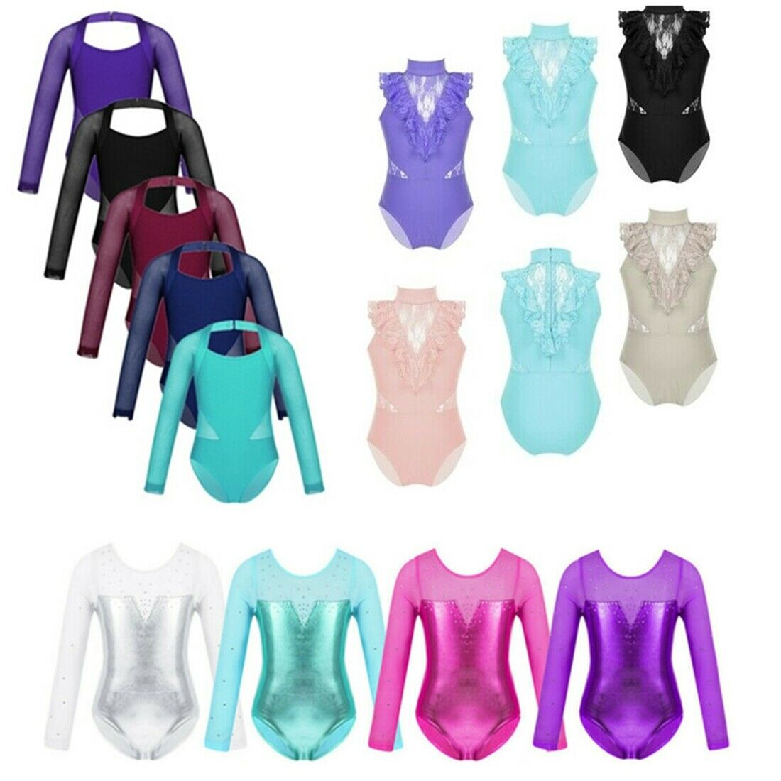Kid Girls Halter Ballet Leotard Metallic Shiny Bodysuit Sports Jumpsuits Unitard