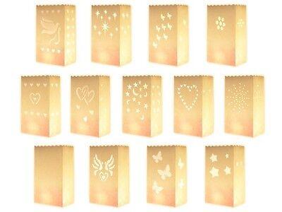 10 Stk. Kerzentüte Lichttüte Candlebag Deko Laterne Windlicht Lichttüten weiß