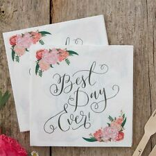 Ginger Ray Boho Floral 'Best Day Ever' Wedding Table Napkins Serviettes