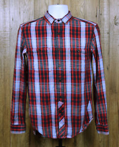 VINTAGE-MENS-STAPLEFORD-FLANNEL-SHIRT-SIZE-XS-RED-BLUE-CHECK-COTTON-LONG-SLEEVE