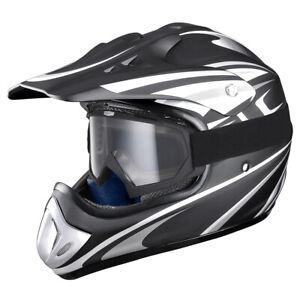 DOT Full Face MX Helmet with Clear Goggles Motocross Dirt Bike Motorcycle ATV M