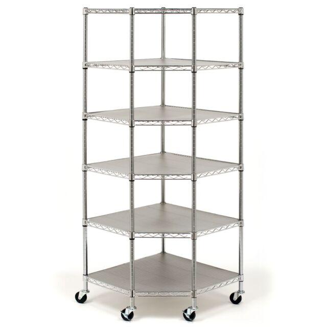 Corner Shelf Unit Shelving Storage 6 Tier Metal Steel Garage Rolling Rack Units
