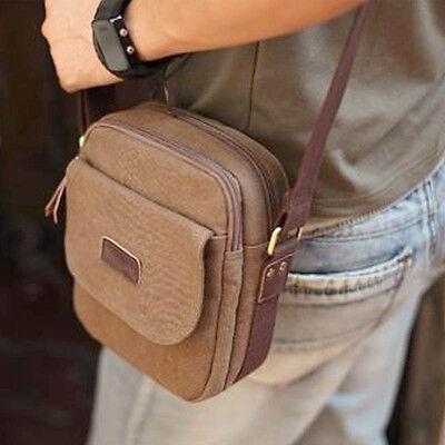 Men's Brown Satchel Bag Crossbody Shoulder School Bags Retro Canvas Messenger