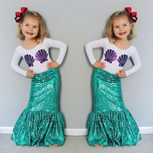 Kids Girls Mermaid Shirt Long Skirt 2PCS Outfits Set Fancy Dress Clothes 3-8 Y