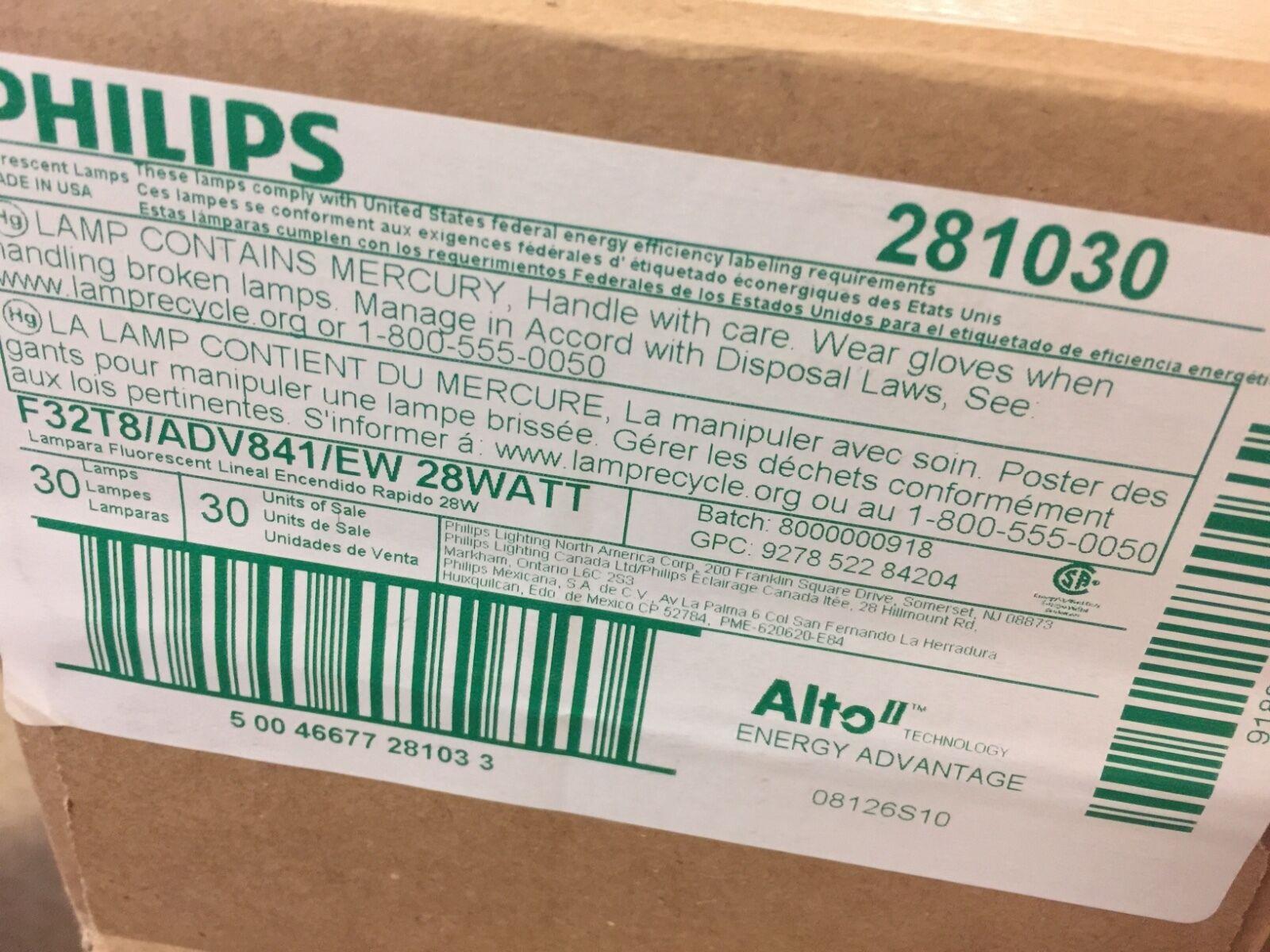 Philips 281030 - 28 vatios-F32T8 ADV841 EW LL 2,725 lúmenes 36,000 horas - - 4100