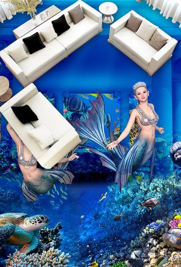 3D Meerjungfrau 8 Fototapeten Wandbild Fototapete Tapete Familie DE Lemon