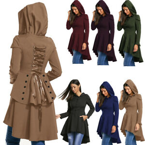 Lace Up Layered High Low Hooded Coat Women High Low Corset Button Up ... 2309005c9