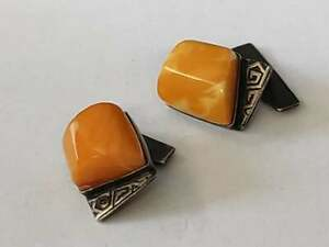 Silver cufflinks with amber the USSR.