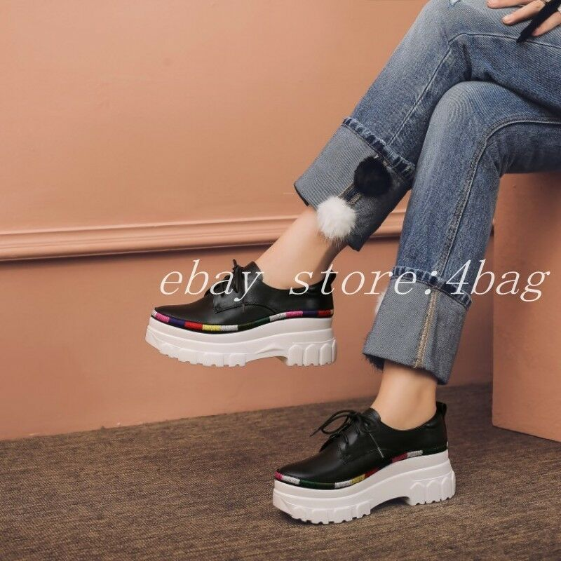 Womens Trainers Leather Lace Up Platform shoes Creepers Creepers Creepers Sneakers Wedge Heels New 268ae1