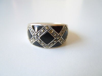 2 Markasiten Fehlen 6,4 G/rg 59 Sufficient Supply 925 Sterling Silber Ring Mit Onyx & Markasiten