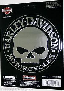 harley davidson motorcycle black decal sticker chrome willie g skull bar shield
