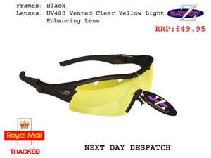 RayZor Black Sports Wrap Sunglasses Uv400 Light Enhancing Yellow Lens RRP£49 (22