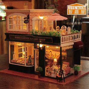 Coffee Wooden Dollhouse LED Light Music Villa Miniature DIY House Kit Kids Gift