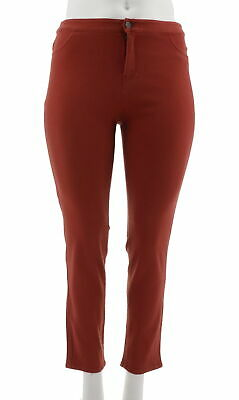 Women's Clothing Amiable Belle Gray Lisa Rinna Zip Fly Skinny Ankle Jeans Solid Brick Red 22w New A235568