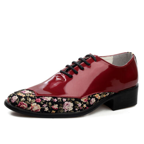 Details about  /Mens Faux Patent Leather Dress Formal Business Shoes Floral Pointy Toe Oxfords D