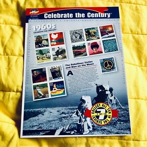 USA-15-x-33-Cent-1999-Celebrate-the-Century-1960s-Stamp-Sheet-BEATLES-WOODSTOCK
