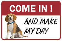 Beagle Come In And Make My Day Business Store Retail Counter Sign