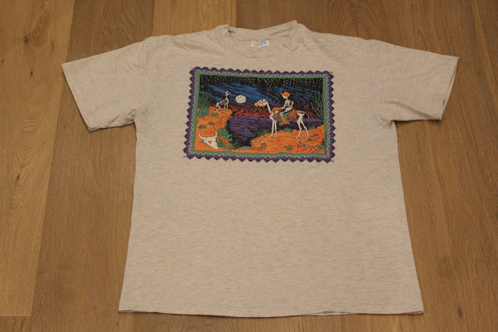 Vintage 90s Grateful Dead Santa Fe 1991 Tee Large Grau T-shirt Jerry Garcia Lot