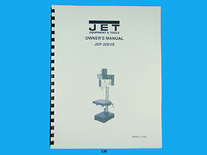 s l300 jet jdp 20evs drill press owners manual *226 ebay  at bakdesigns.co