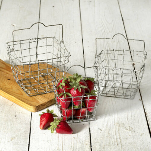 Gathering Berry Nesting Wire Baskets With Handles Set of 3 Vintage Inspired
