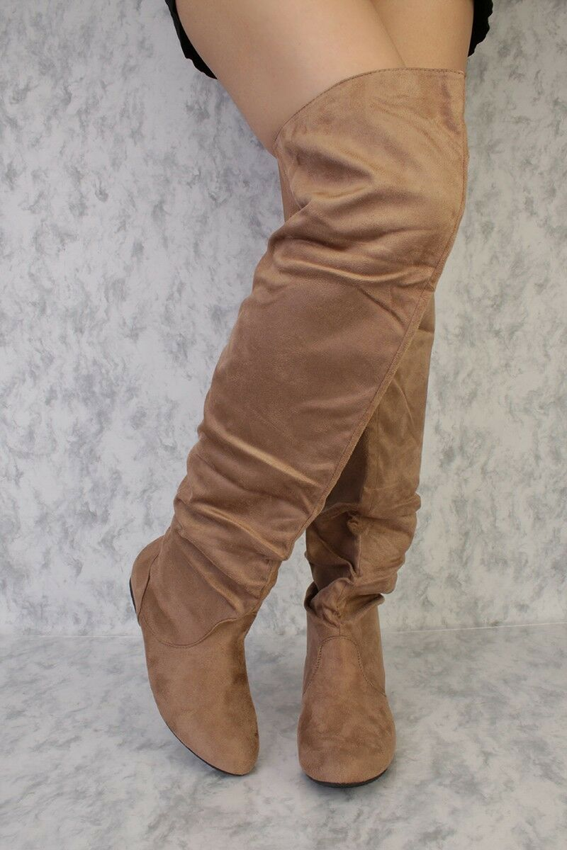 NEW NEW NEW LOT Black Brown Camel Tan Thigh High Platform Flats Boots Faux Leather 6 6.5 d849e6