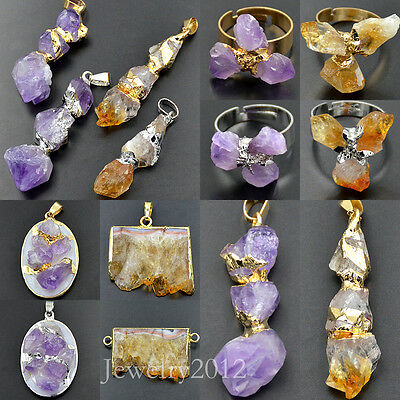 Natural Amethyst Citrine Geode Gemstones Freeform Pendant Ring Silver Gold Beads