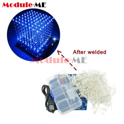 3D Light Squared DIY Kit 8x8x8 3mm LED Cube Blue Ray LED M114