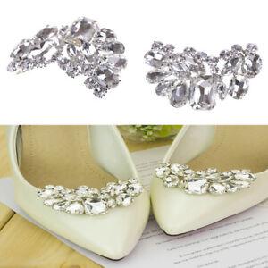 Shiny-Braut-Hochzeit-Schuhe-Clips-Crystal-Strass-Dekor-Zubehoer-Pw