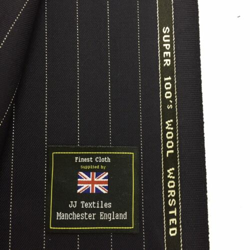 DUGDALE BROS Navy Wide Pin Stripe Super 100's Pure Wool Suit Fabric. 320340g