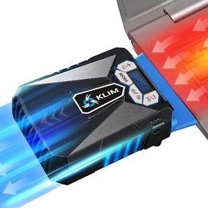 KLIM Cool Laptop Cooler Fan, Portable Quiet Cooling Vacuum w/Display - BLUE LED