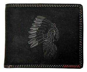 Hochwertige-Geldboerse-Geldbeutel-Portemonnaie-Bueffel-Leder-Indianer-Motiv