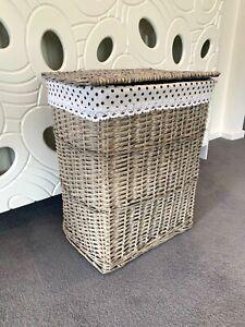 Grey-Wicker-Laundry-Rattan-Storage-Basket-Bin-Clothes-Gift-Hamper-Basket-Decor