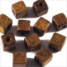 Lot de 40 Perles Cubes en Bois 8mm Marron Clair