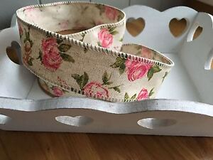 Neat-Edge-Rose-Linen-Ribbon-Wedding-Sewing-Trim-Craft-Shabby-Vintage-Chic-1Mtr