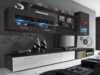 Living Room Furniture Set - Wenge & White Gloss - Cabinets Cupboards Shelves