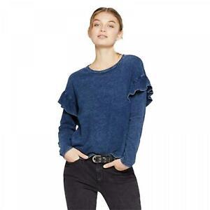 nWT-Universal-Thread-Women-039-s-Long-Sleeve-Ruffle-T-Shirt