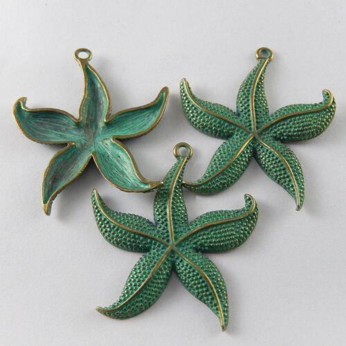 5 pcs Green Bronze Alloy Sea Star Starfish Charms Pendant DIY Accessories Crafts