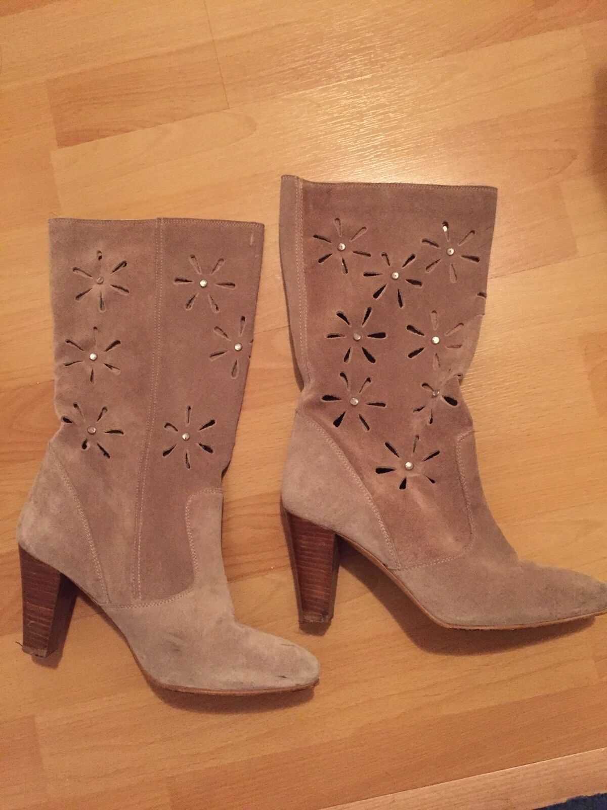 KG vintage-style suede UK4 cut out Stiefel , UK4 suede Embellished 80s e16f2e