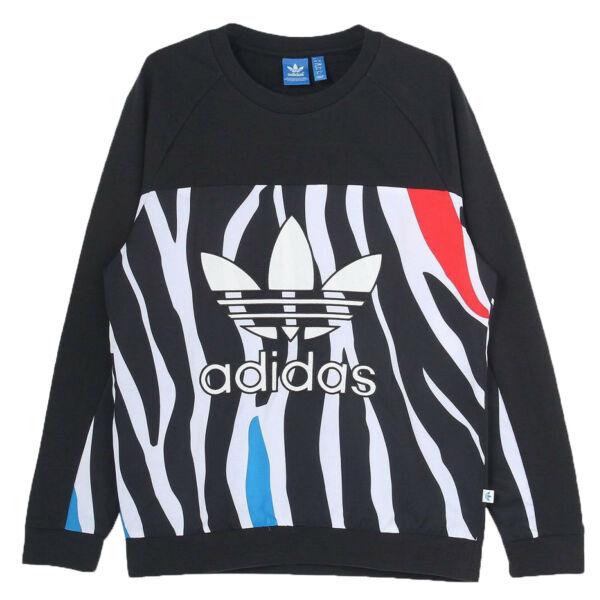 adidas Originals Zebra Sweater AOP Damen Trefoil Logo Sweatshirt AO3009 Schwarz