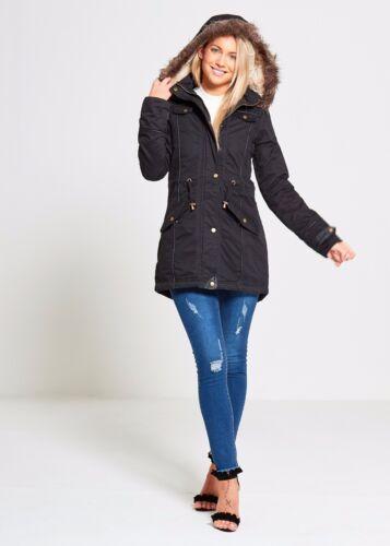 Khaki Brave Coat Lined Winter Fur Soul black Military New Jacket Parka Hooded Ladies Womens 1nqRWPxwF7