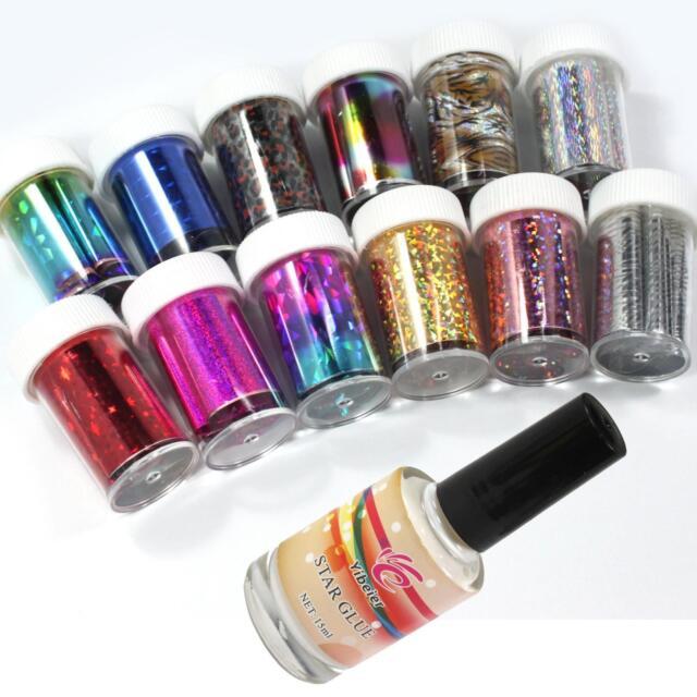 12 Colors Nail Art Transfer Foil Sticker for Nail Tips Decoration & Glue Set