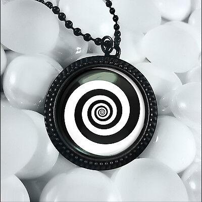 Twilight zone swirling hypnotic vortex spiral glass pendant necklace twilight zone swirling hypnotic vortex spiral glass pendant necklace 24 chain mozeypictures Choice Image