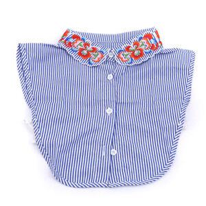 Lady-Fake-Collar-Blouse-Half-Shirt-Blue-Stripes-Embroidery-Flower-Detachable-LH
