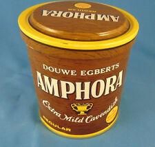 Tobacco tin Douwe Egbert's Amphora 7oz. made Holland brown yellow vintage can