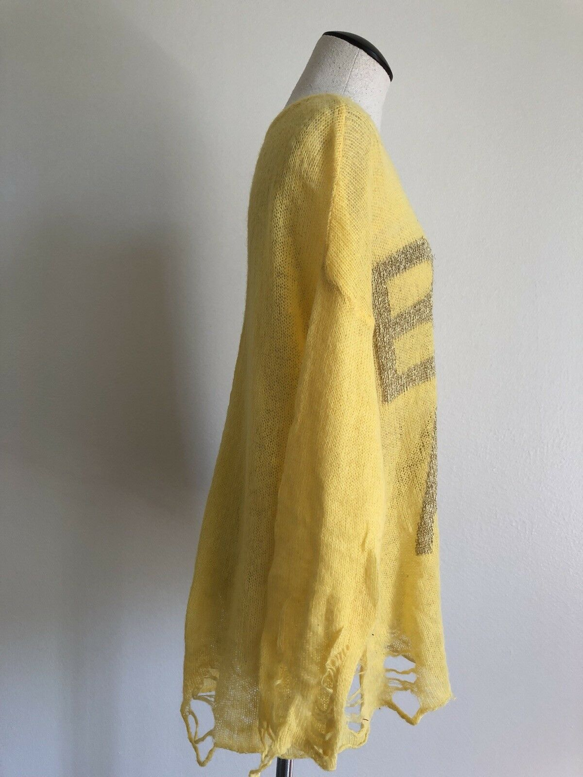 Wildfox White Label  BEL AIR  Destroyed Destroyed Destroyed Lightweight Loose Sweater Yellow gold XS 77f662