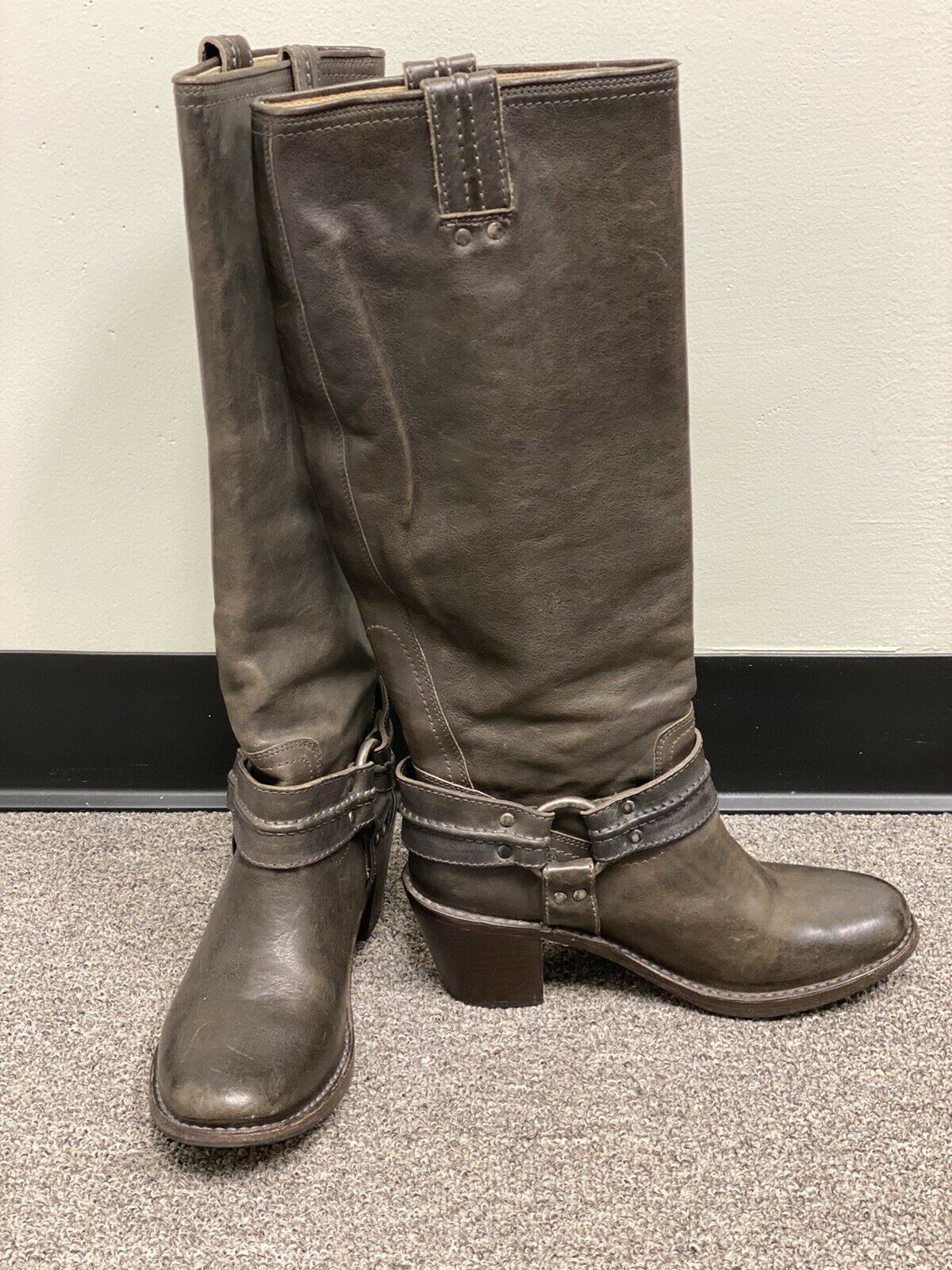 FRYE Carmen Harness Tall Leather Boots