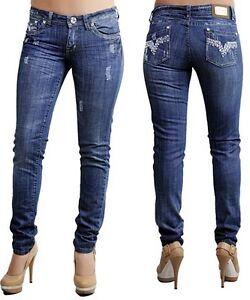 Ladies-High-Quality-Skinny-Jeans-w-Rhinestones-61Blue-Size-6-7