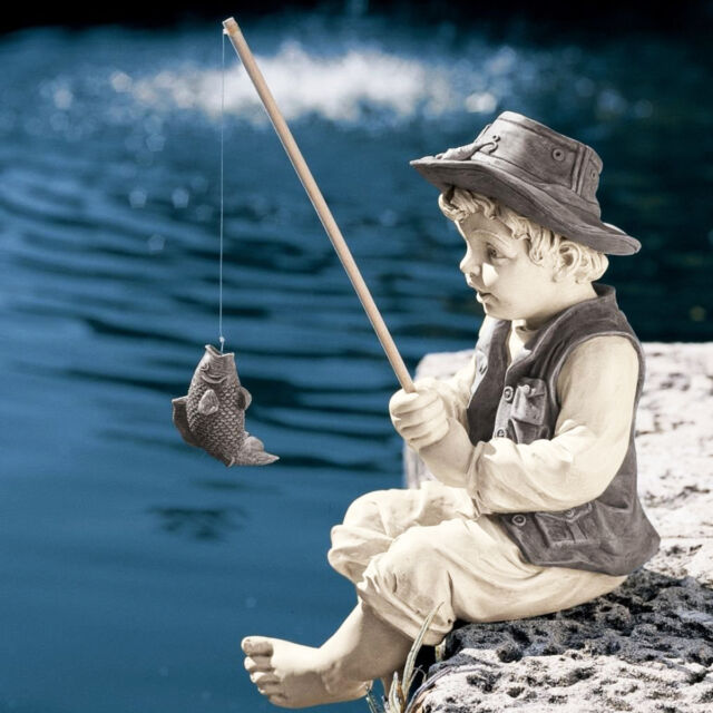Pond Accent Boy Fishing Statue Garden Lawn Sculpture Decor Fisher Man Figurine
