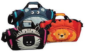 Fabrizio-Kinder-Sporttasche-Reisetasche-Loewe-Nilpferd-Zebra-Zoo-Kindergepaeck
