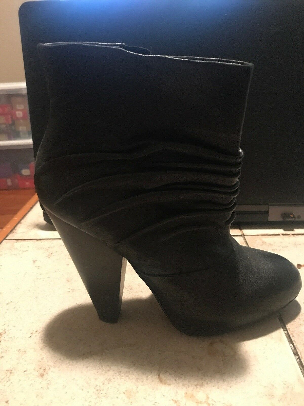 FERGIE BRAND BLACK LEATHER BOOTIES  GREAT LOOKING STYLE SIZE 6.5 4 inch heel EUC